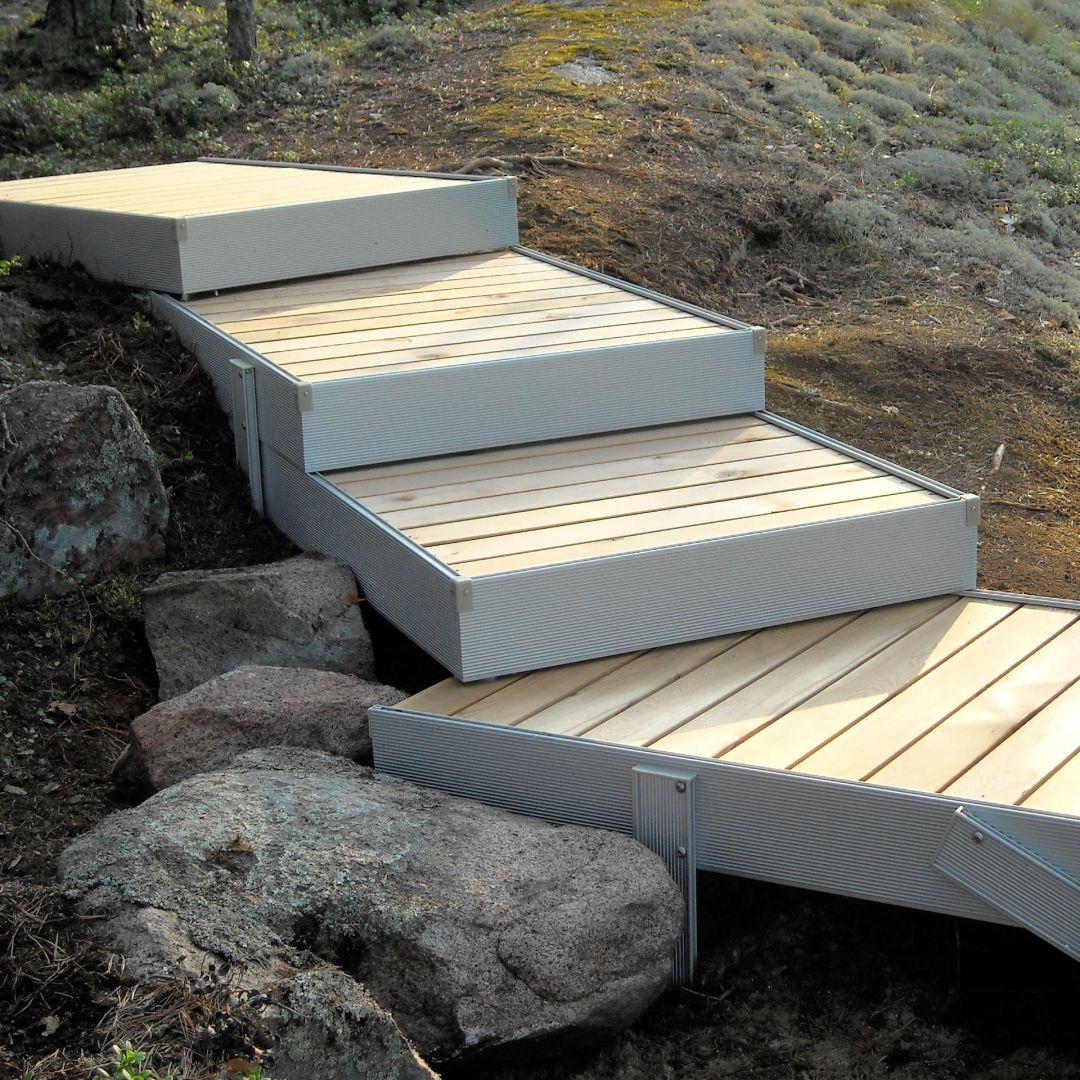 Piha-askelmat loivalla kalliorinteellä. Kate terassilautaa.